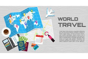 world travel banner wooden