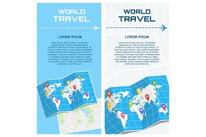 world travel banners with map