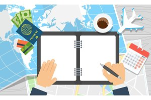 world travel notebook hands write