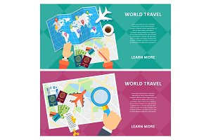 world travel two banners