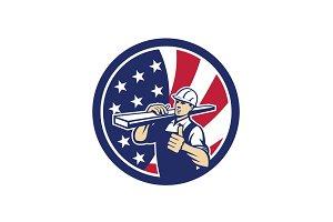 American Lumber Yard Worker USA Flag
