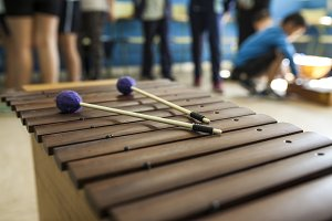 xylophone and drumsticks in a music