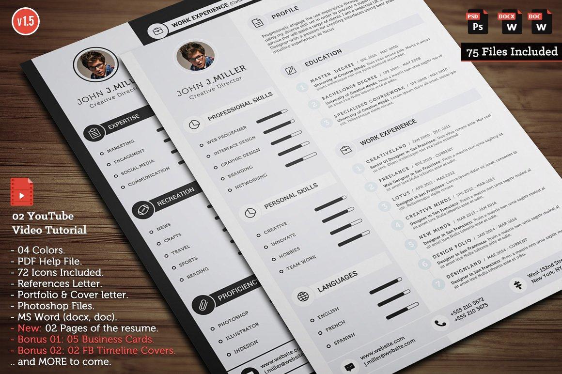Clean CV Resume ~ Resume Templates ~ Creative Market