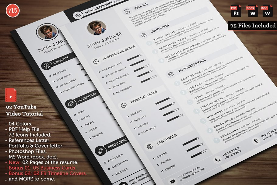 Clean CV Resume Templates Creative Market