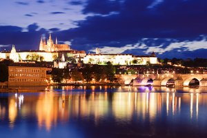 Prague at Night in Summer
