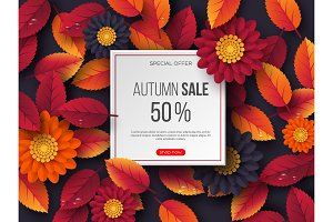 Autumn sale banner with 3d leaves, flowers and water drops. Violet background - template for seasonal discounts, vector illustration.