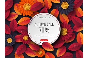 Autumn sale round banner with 3d leaves, flowers and water drops. Violet background - template for seasonal discounts, vector illustration.