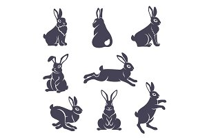 Cute rabbits silhouettes