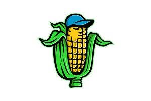 Corn on Cob With Baseball Hat Mascot