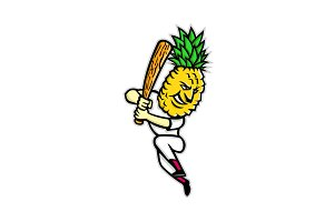 Pineapple Baseball Batting Mascot