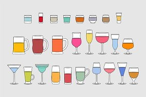 Set of Alcoholic drinks glasses