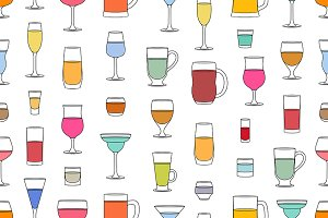 Pattern with drinks glasses