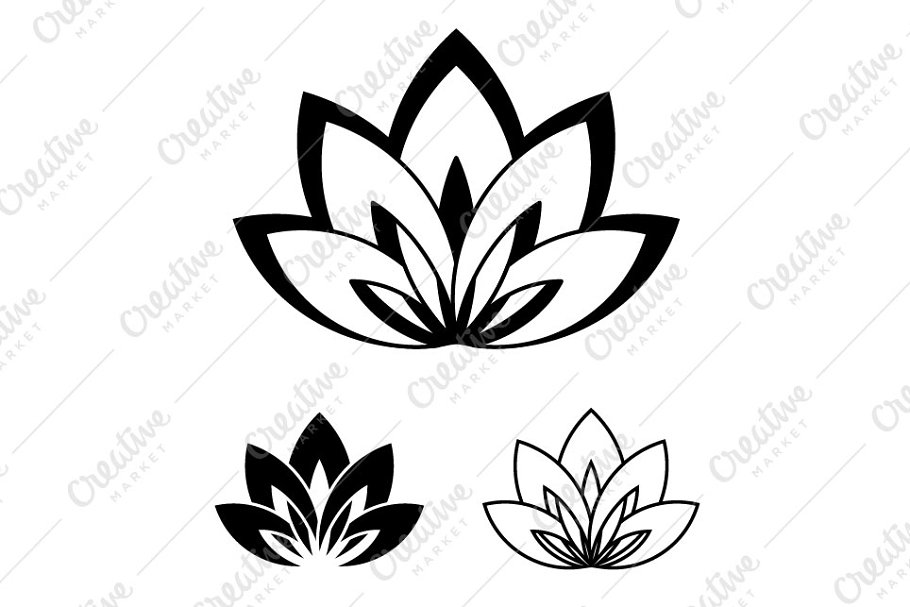 Lotus Flower Logo A Symbol Of Yoga Icons Creative Market