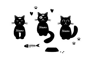 Set with three funny cats