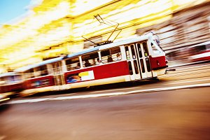 Tram speeding in the city