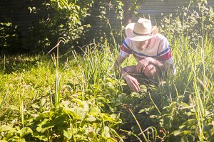 young male gardener in casual outfit and summer hat in garden