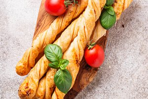 Italian antipasto  grissini with tomato
