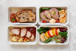 Assortment of airline food