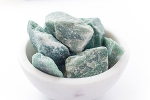 Raw Green Aventurine in Bowl