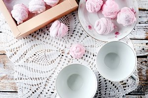 Homemade currant pink marshmallows