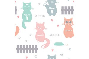 Cute cats seamless vector pattern