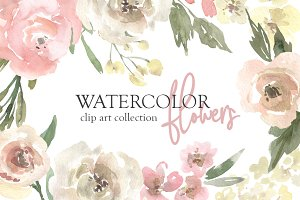 Watercolor Neutral Floral Collection