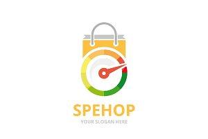 Vector speedometer and shop logo