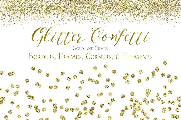 Glitter Confetti Borders & Elements