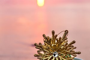 Golden Snowflake At Pink Sunset