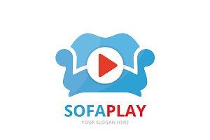 Vector button play and sofa logo
