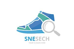 Vector sneaker and loupe logo