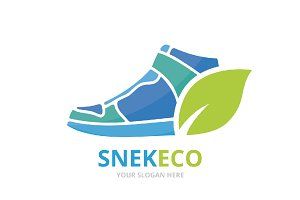 Vector sneaker and leaf logo