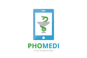 Vector medicine and phone logo