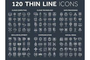 Cloud computing and technology.Data storage. Seo,development. Social network,communication. Internet connection. Email message. Thin line icons dark set. White stroke.