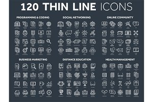 Programming,coding. Data management. Social network, computing. Information. Internet connection. Business marketing. School and education. Medicine. Thin line icons set. White stroke.