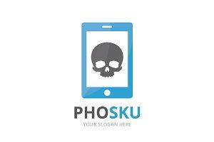 Vector skull and phone logo