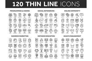Programming,coding. Data management. Social network, computing. Information. Internet connection. Business marketing. School and education. Medicine. Thin line black icons set. Stroke.