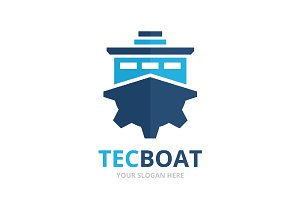 Vector ship and gear logo