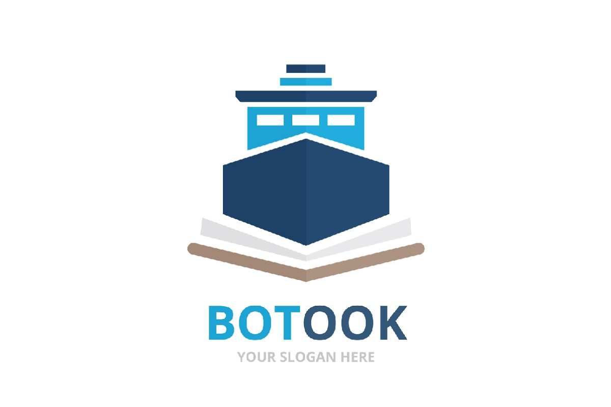 Vector ship and open book logo ~ Logo Templates ~ Creative