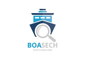 Vector ship and loupe logo