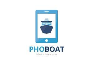Vector ship and phone logo