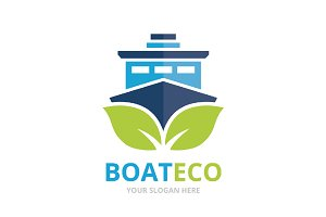 Vector ship and leaf logo