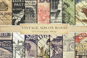 Vintage ads on wood