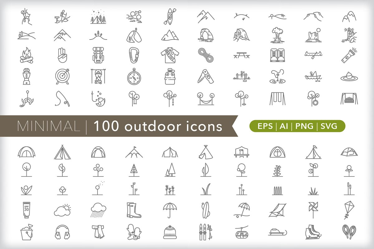 Minimal 100 outdoor icons