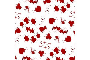 Blood splat splash spot ink stain blot patch liquid seamless pattern background vector illustration