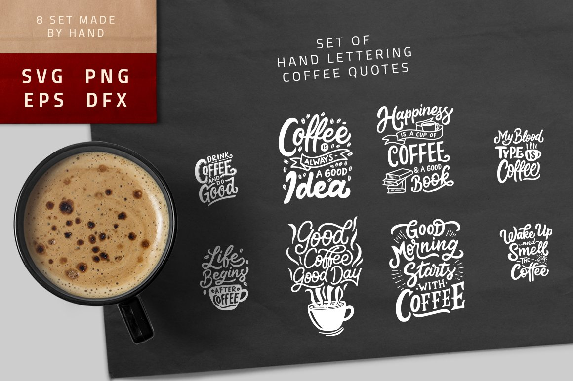 Set Of Hand Lettering Coffee Quotes Illustrations Creative Market