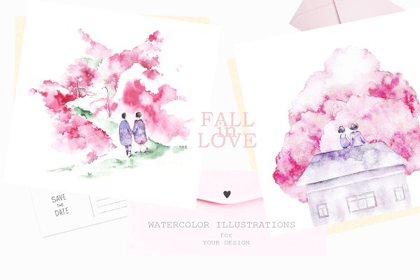 Fall in love. Romantic cards.