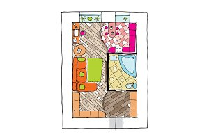 Interior design apartments - top view