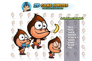 Gorilla 2D Game Character Sprites