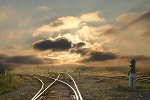 landscape with railroad rails